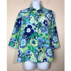 Allison Daley Petite 6P Blue&Green Floral Blouse